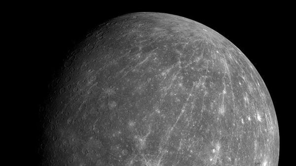 This October 2008 photo shows Mercury during the Messenger spacecraft