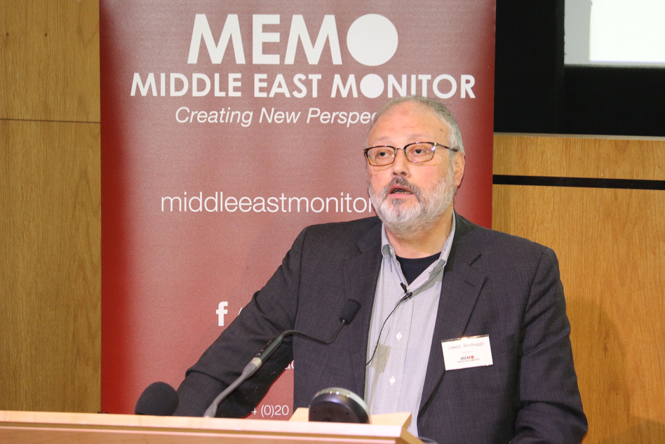 Saudi journalist Jamal Khashoggi, pictured speaking at an event in September, died after a fight broke out in the Saudi Arabian Consulate in Istanbul earlier this month, according to Saudi state TV. (Middle East Monitor via Reuters)