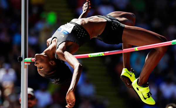 Chaunte Lowe competes in the Women's High Jump Final during the 2016 U.S. Olympic Track & Field Team Trials in July 2016 in Eugene, Ore.