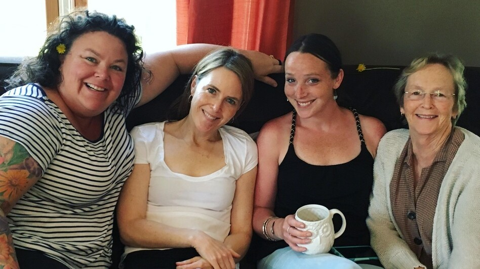 Left to right: Sisters Maura O'Neill and Kate O'Neill lost their sister, Maddie Linsenmeir (center right) to opioid addiction. Linsenmeir's mother, Maureen Linsenmeir, sits to her right.