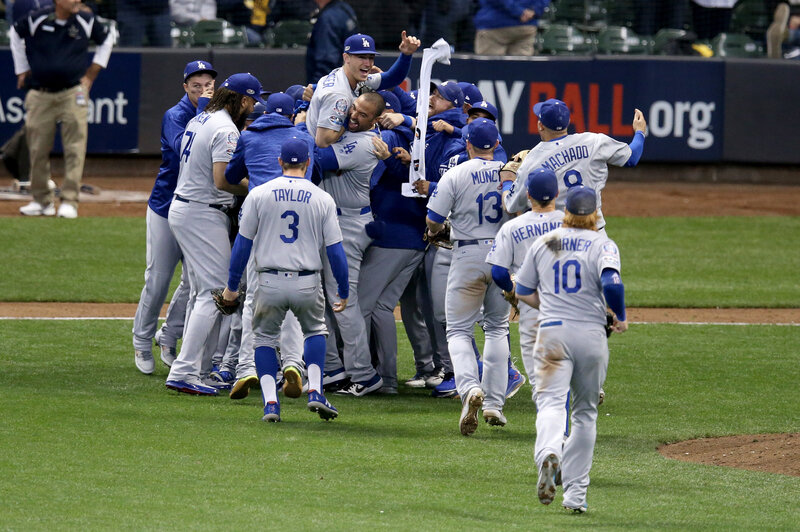 la dodgers defeat milwaukee brewers to reach world series npr