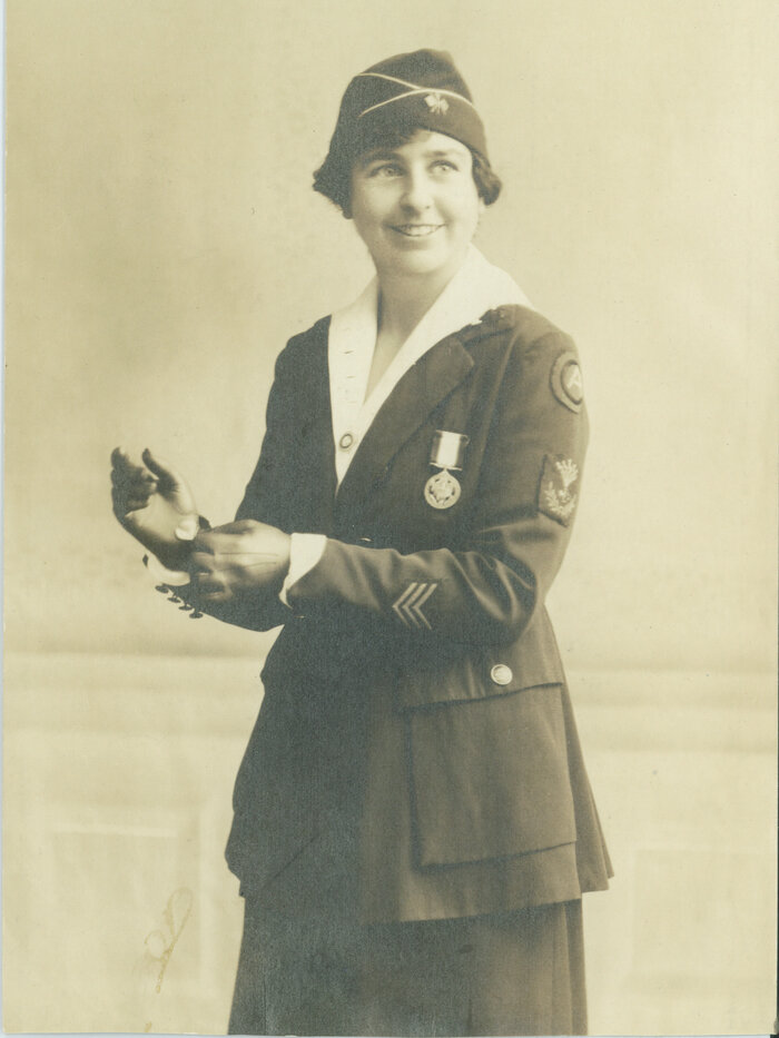 Grace Banker in her military uniform with Distinguished Service Medal. According to her grandchildren, the photo was likely taken in a studio in the U.S. after she returned from World War I in France. (Courtesy of Robert, Grace and Carolyn Timbie)