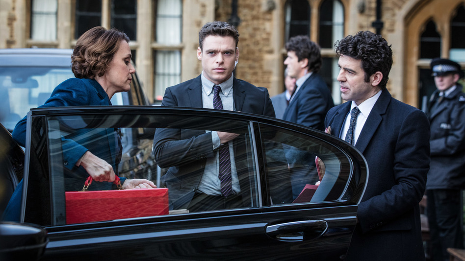 Keeley Hawes, Richard Madden and Paul Ready star in the BBC thriller <em>Bodyguard, </em>which comes to Netflix on October 24. (Sophie Mutevelian/World Producti/Netflix)