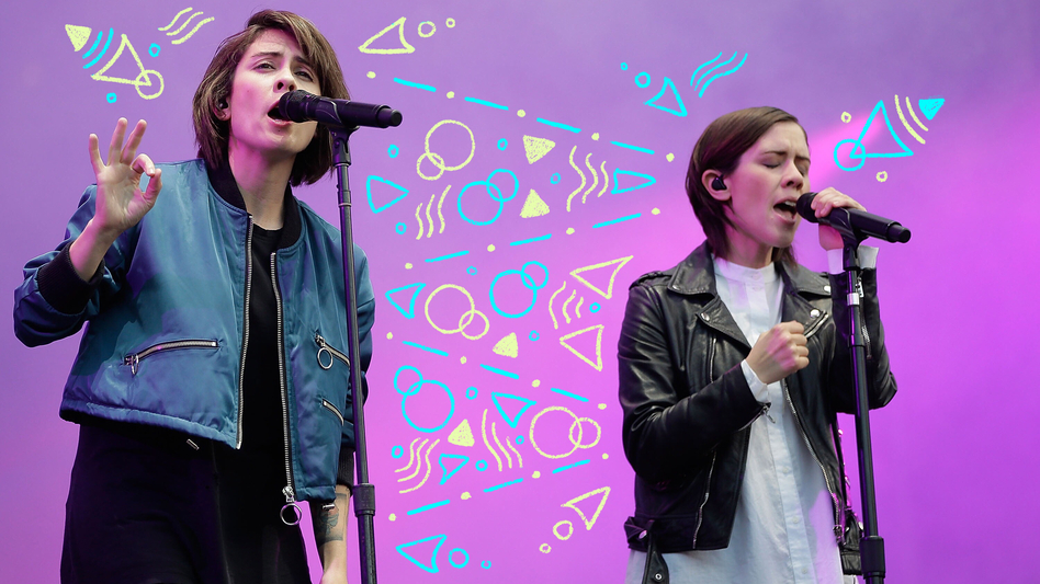 Tegan and Sara perform in 2016 in Australia. (Photo Illustration: Mark Metcalfe/Getty Images and Angela Hsieh/NPR)