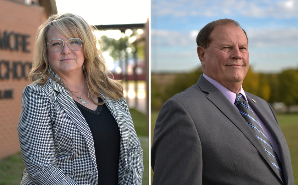 Republican Sherrie Conley (left) and Democrat Steve Jarman are competing to represent the same district in Oklahoma's House of Representatives. Both have more than a decade of teaching experience. (Nick Oxford for NPR)