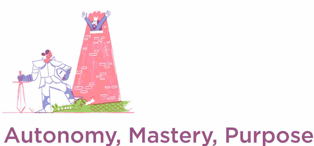 Autonomy, Mastery, Purpose. (Illustration by Drew Lytle for NPR.)