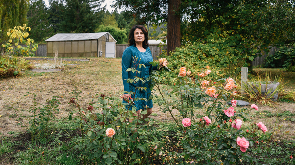 Janet Winston stands in her rose garden in Eureka, Calif. Testing revealed she is allergic to numerous substances, including linalool. Winston still can handle roses, which contain linalool, but she can