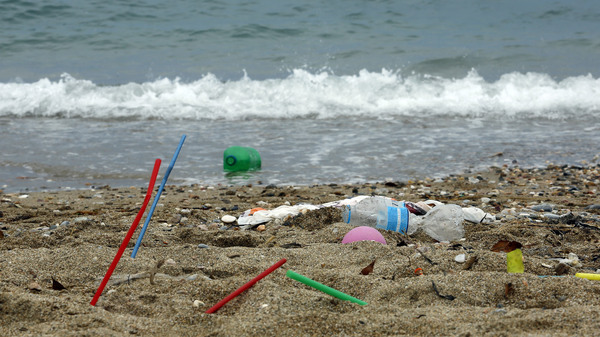 Plastic garbage lying on the beach in Greece. The move would impose a complete ban on some single-use plastics across the European Union and a reduction on others, aiming to implement most measures by the mid-2020s.