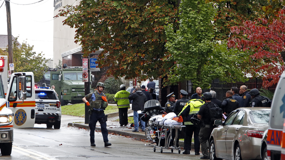 First responders surround the Tree of Life Synagogue in Pittsburgh, where a shooter opened fire Saturday morning. (Gene J. Puskar/AP)