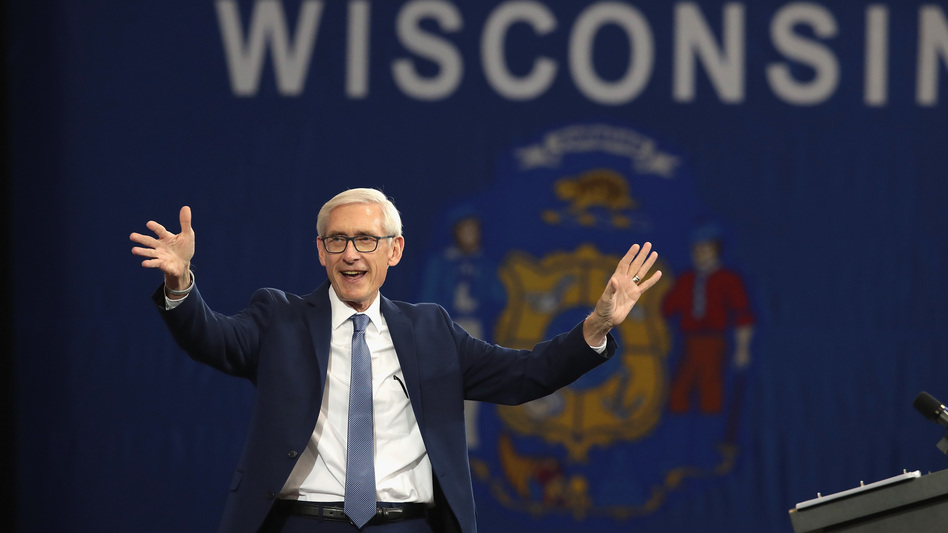 Tony Evers, Democratic candidate for governor of Wisconsin, faced a primary opponent who was further left and does not take up all the far-reaching policy positions of Bernie Sanders. But he has embraced the progressive banner, and Sanders has his back in a campaign to unseat GOP Gov. Scott Walker. (Scott Olson/Getty Images)