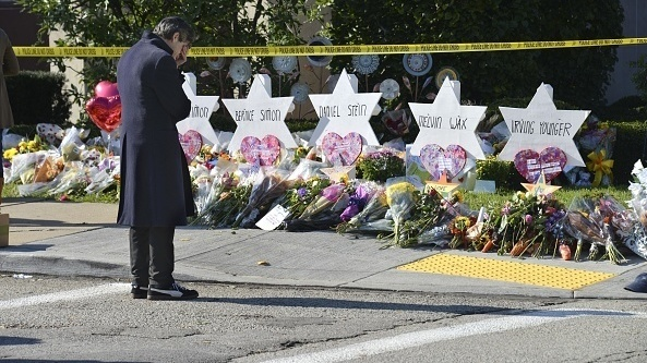 Stars of David memorialize Jewish congregants killed at a synagogue in Pittsburgh on Saturday.