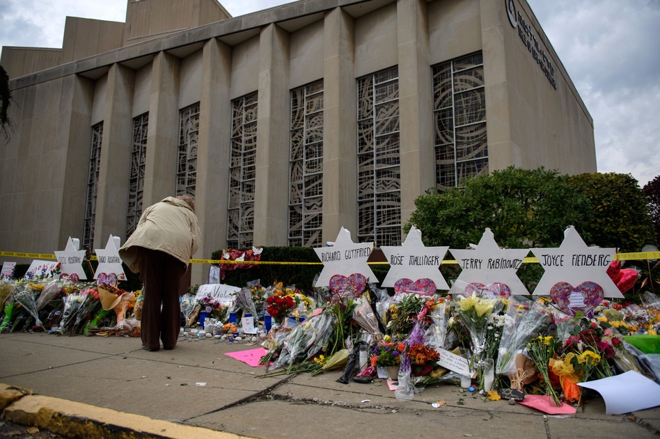 Eleven people were killed in a mass shooting at the Tree of Life Congregation in Pittsburgh's Squirrel Hill neighborhood on Oct. 27. (Jeff Swensen/Getty Images)