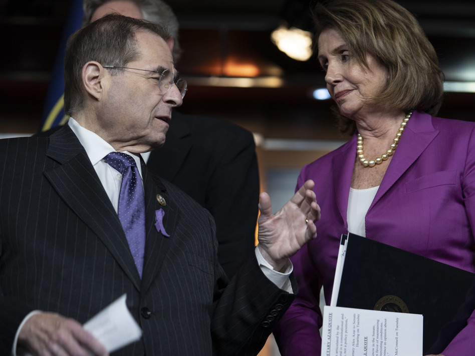 House Judiciary Committee Ranking Member Jerry Nadler talks with Minority Leader Nancy Pelosi. Top Democrats say that if they take control of the House, they'll focus on investigating — not impeaching — President Trump. (Toya Sarno Jordan/Getty Images)