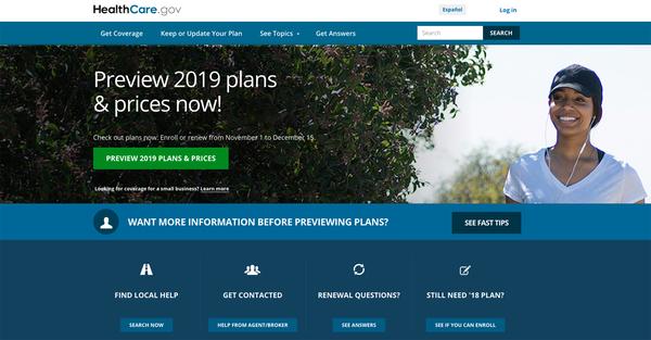 Open enrollment for 2019 health plans begins Nov. 1 on HealthCare.gov and on most state insurance exchanges.