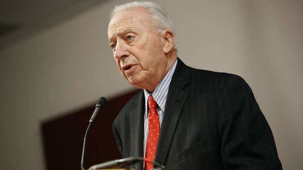 James Brady, chairman of the University System of Maryland Board of Regents, speaking at a news conference on Oct. 30, resigned on Thursday after days of outrage over the board