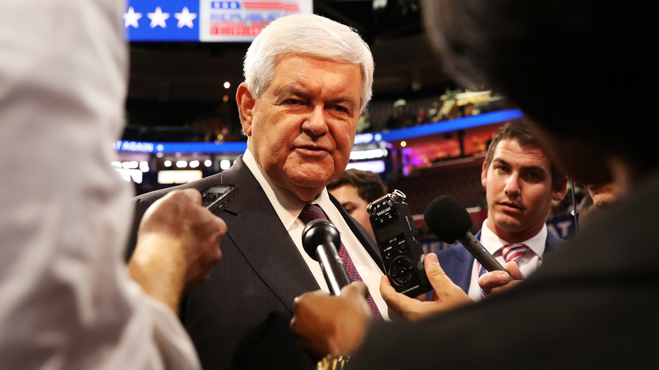 Former Speaker of the House Newt Gingrich speaks with reporters at the 2016 Republican National Convention in Cleveland. (John Moore/Getty Images)