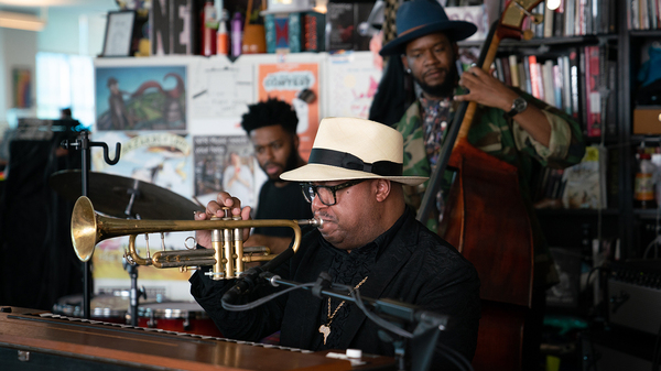The Nicholas Payton Trio performs a Tiny Desk Concert on Oct. 10, 2018. (Cameron Pollack/NPR)