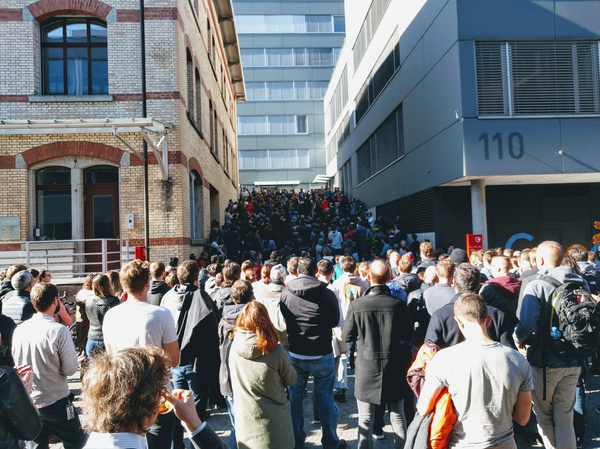 People participate in a walkout at the Google office in Zurich on Thursday.