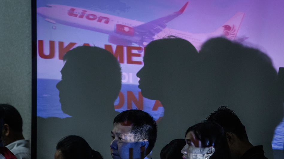 Families of victims of Lion Air Flight JT610 attend a meeting with authorities and Lion Air management on Monday in Jakarta, Indonesia. All 189 passengers and crew are feared to have died when the plane crashed shortly after takeoff on Oct. 29. (Ulet Ifansasti/Getty Images)