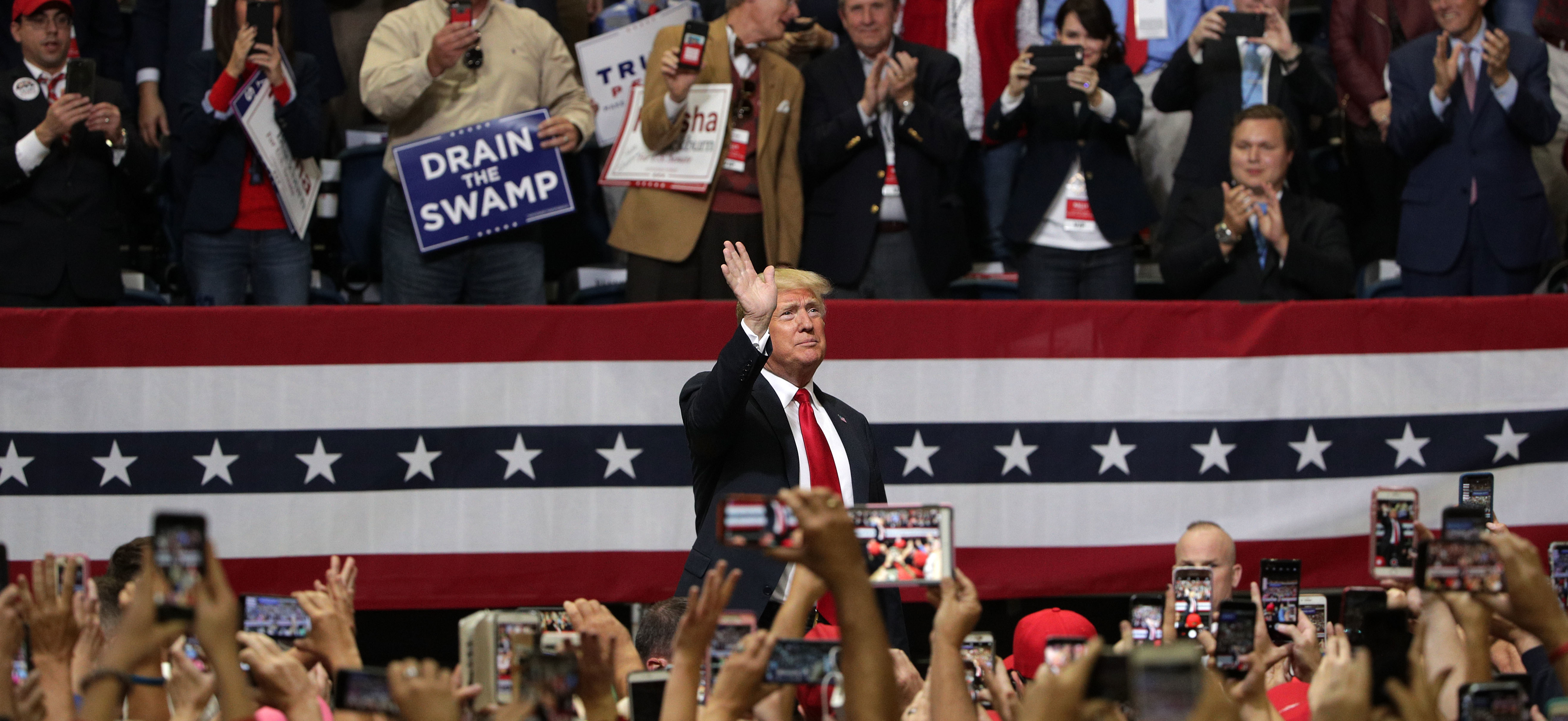 President Trump acknowledges supporters during a campaign rally for Rep. Marsha Blackburn, R-Tenn., and other Tennessee Republican candidates November 5, 2018, in Chattanooga, Tenn. (Alex Wong/Getty Images)
