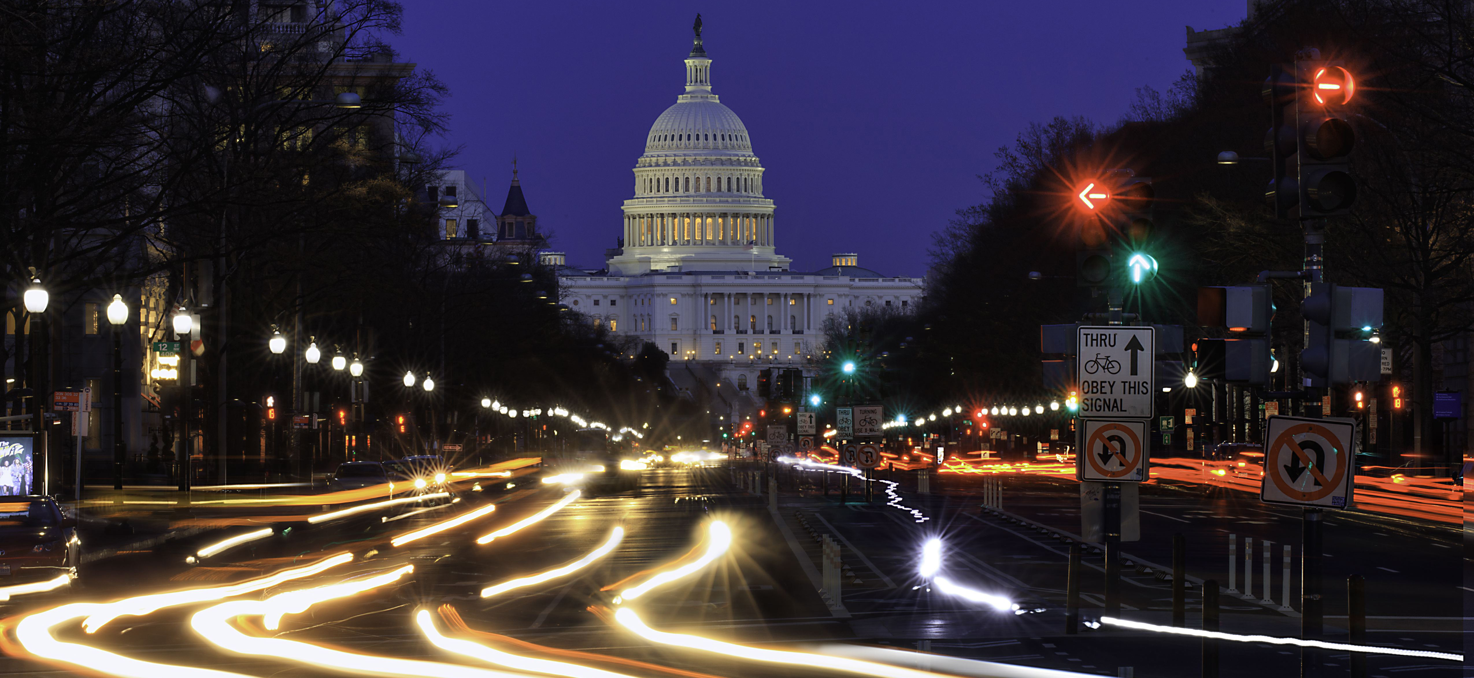 A view of Pennsylvania Ave. headed to the U.S. Capitol in Washington, D.C., during an evening rush hour. (Joe Sohm/Visions of America/UIG via Getty Images)