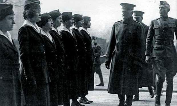 Gen. John Pershing reviews the Hello Girls in France. Pershing needed skilled telephone operators and called for the Army to recruit the women despite strong objections from within the military. (U.S. Army Signal Corps Archives)