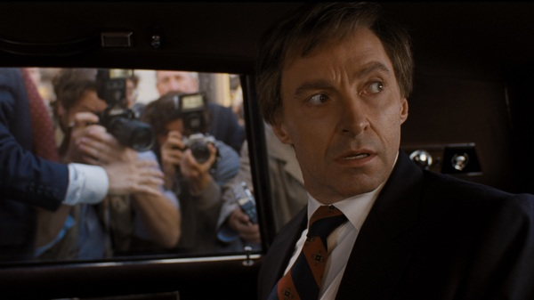Hugh Jackman, and wig, play Gary Hart in Jason Reitman