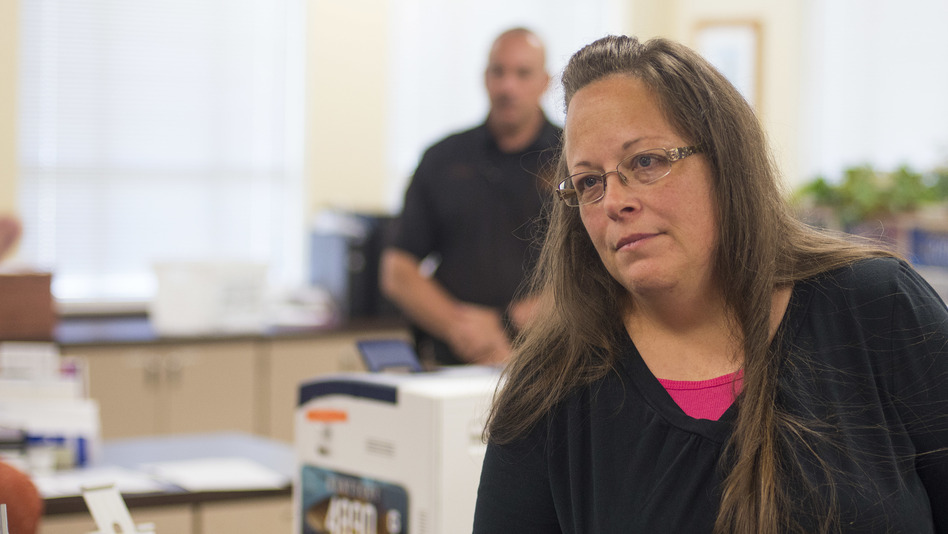 Kim Davis, seen in September 2015, during the height of the controversy around her decision to refuse marriage licenses to same-sex couples. On Tuesday, Davis lost her clerkship in Rowan County, Ky. (Ty Wright/Getty Images)