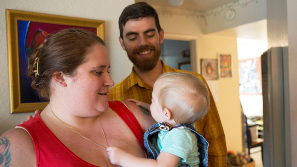 Nicole and Ben Veum, with their little boy, Adrian. Nicole was in recovery from opioid addiction when she gave birth to Adrian, and she worried the fentanyl in her epidural would lead to relapse, but it didn