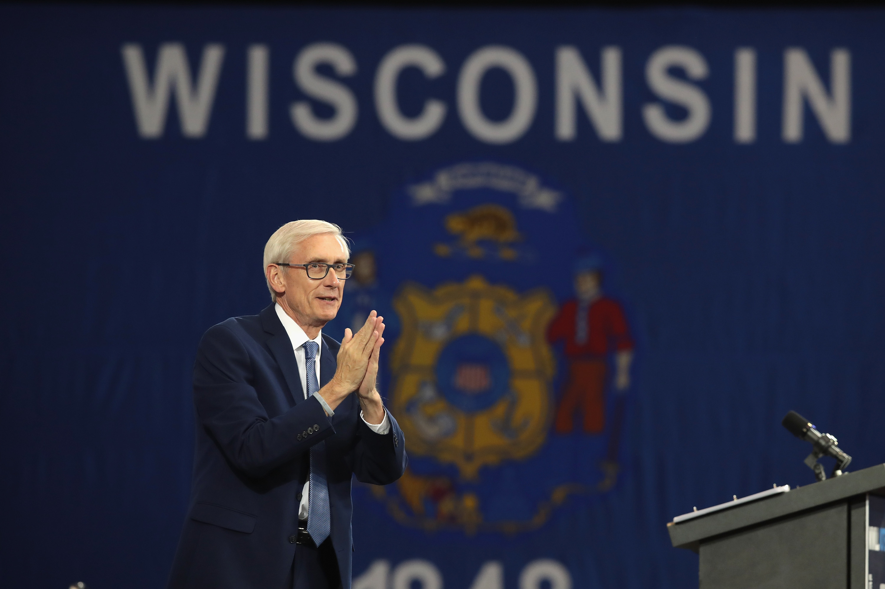 Tony Evers, Democratic candidate for governor of Wisconsin, speaks at a rally in Milwaukee. Evers defeated Republican Gov. Scott Walker.