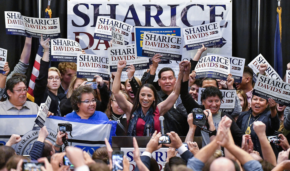 Democrat Sharice Davids gives her victory speech after winning the state's 3rd congressional district race. (Kansas City Star/Getty Images)