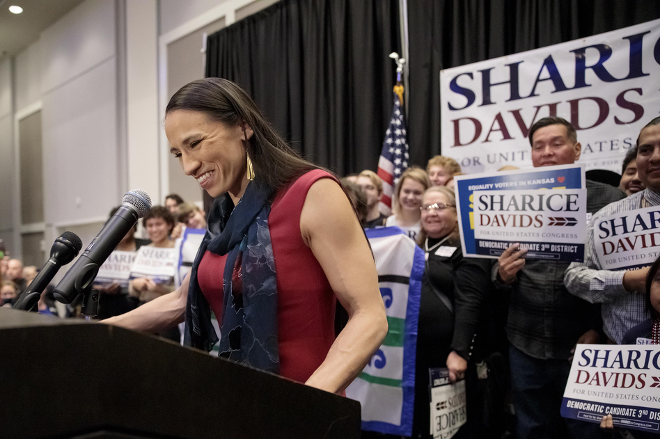 After winning Kansas' 3rd District, Sharice Davids is projected to become one of the first Native American women to serve in Congress and the first LGBTQ person to represent the state in the lawmaking body. (Whitney Curtis/Getty Images)