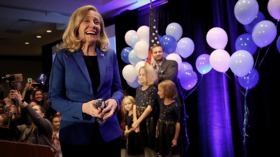 Abigail Spanberger, Democratic candidate for Virginia's 7th District in the U.S. House of Representatives, thanks supporters at an election night rally. Spanberger declared victory over Republican incumbent Dave Brat. (Win McNamee/Getty Images)