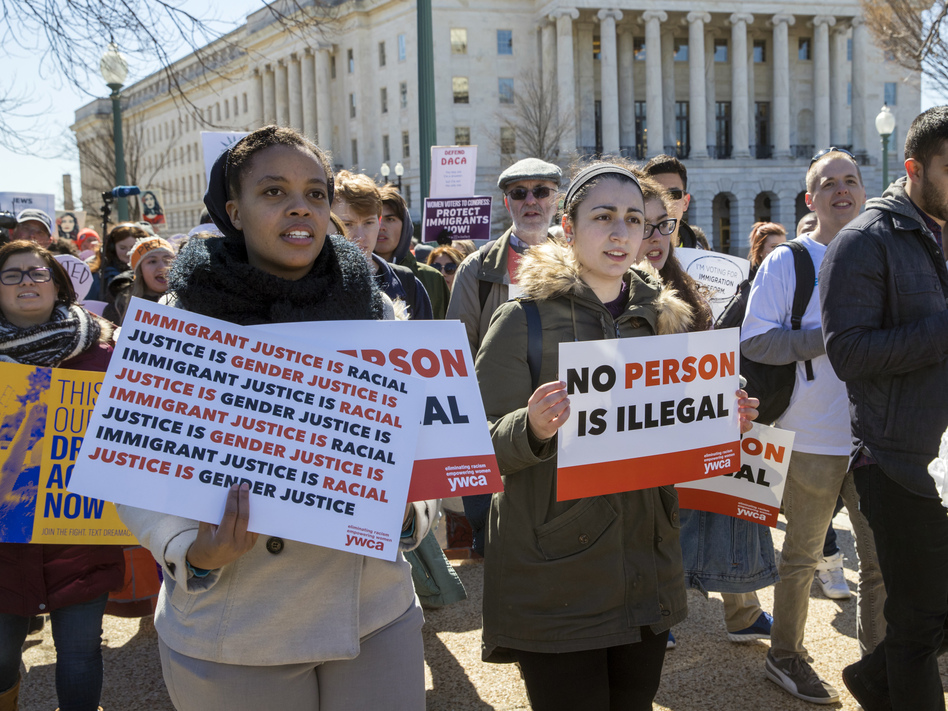 Deferred Action for Childhood Arrival recipients and other young immigrants rally at the U.S. Capitol in Washington in March. A federal appeals court has blocked the Trump administration's effort to end the program.