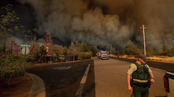 The Camp Fire rages through Paradise, Calif., on Thursday.