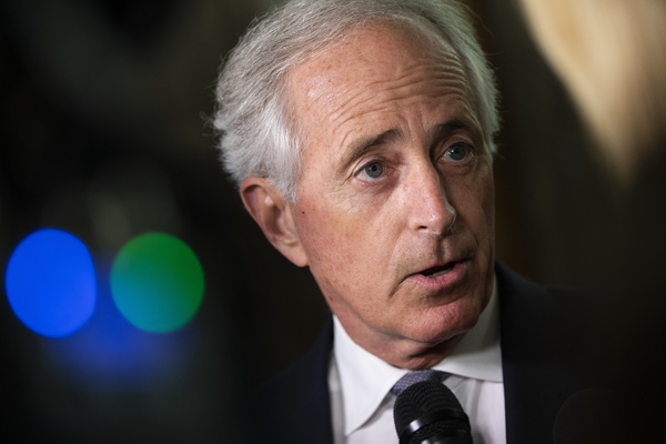 Republican Sen. Bob Corker of Tennessee speaks to reporters about Supreme Court nominee Brett Kavanaugh on Sept. 25.