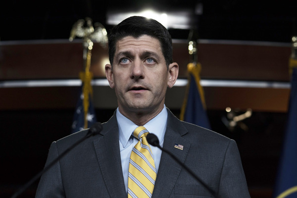 Speaker of the House Paul Ryan delivers remarks during his weekly press conference on June 21.
