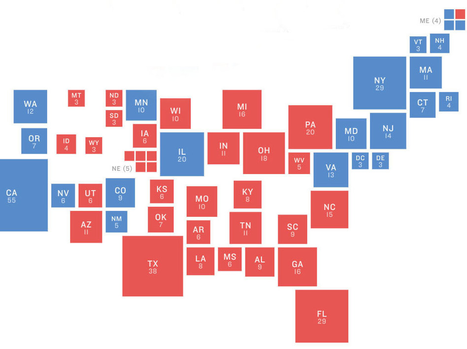 The electoral map In 2016. President Trump upended it, and the 2018 midterms show where it may be reverting to prior trends heading into 2020. (NPR)