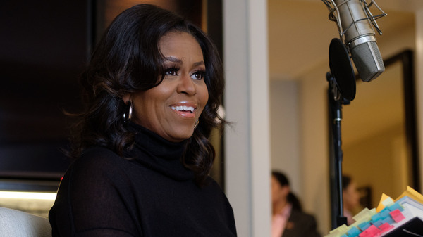 NPR host Audie Cornish interviews former first lady Michelle Obama on her book Becoming in Chicago on Nov. 2.