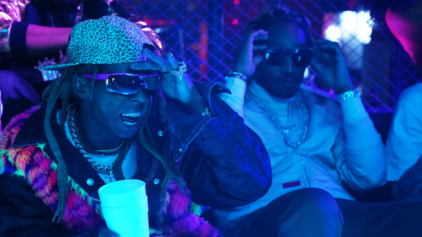 "Lil Wayne, left, with Future during the sketch ""Booty Anthem,"" from the Nov. 10, 2018 episode of Saturday Night Live."