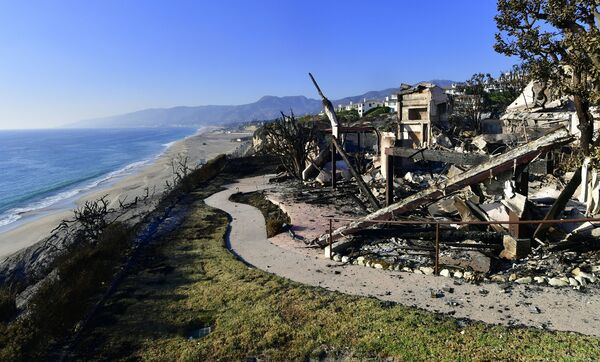 The remains of a beachside luxury home along the Pacific Coast Highway community of Point Dume in Malibu.