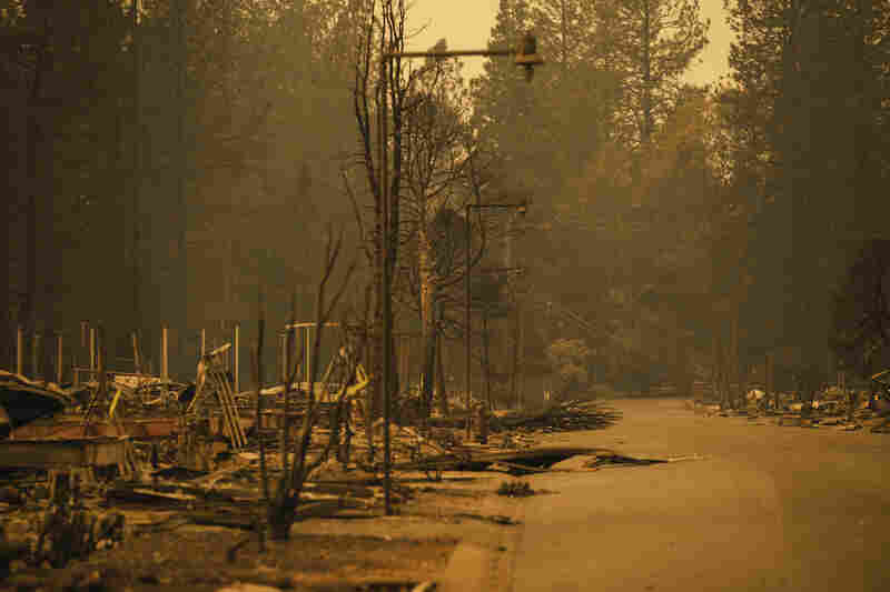 A neighborhood of Pentz Road is decimated by the Camp Fire in Paradise, California.