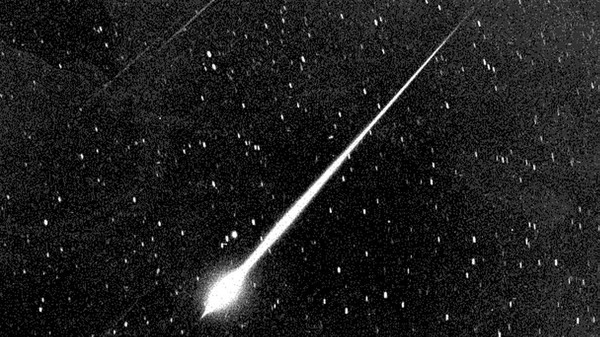 This bright meteor was seen in the sky above Wrightwood, Calif., during the Leonid meteor storm of 1966. Storms are more intense than showers, but every year Leonid meteors streak across the night sky in November.