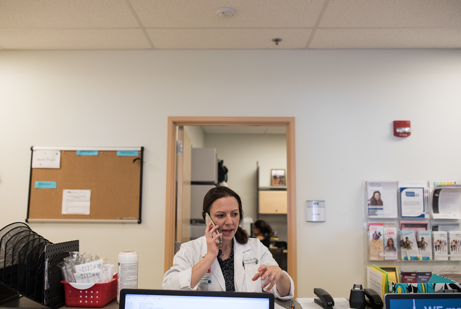 Dr. Lisa Hofler runs a University of New Mexico clinic that stocks mifepristone but doesn't routinely provide prenatal care. She and her colleagues can schedule same-day appointments for women diagnosed with miscarriages elsewhere. (Adria Malcolm for NPR)