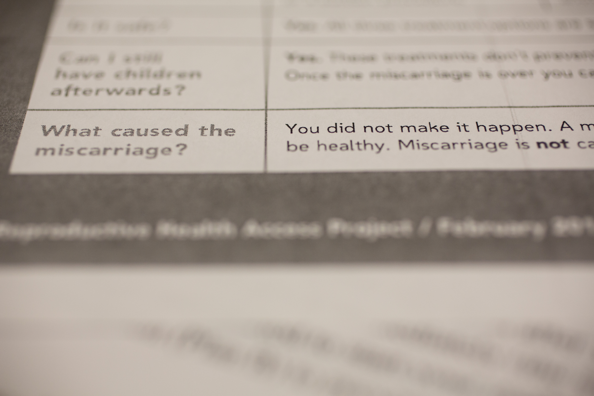 A handout about miscarriages provided to patients at the University of New Mexico Center for Reproductive Health in Albuquerque.