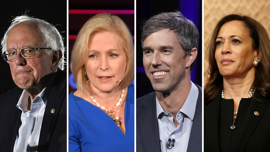 Possible Democratic presidential candidates for the 2020 race include Vermont Sen. Bernie Sanders (left), New York Sen. Kirsten Gillibrand, Texas Rep. Beto O'Rourke and California Sen. Kamala Harris. (Jeff J. Mitchell, Angela Weiss/AFP, Chip Somodevilla/Getty Images)