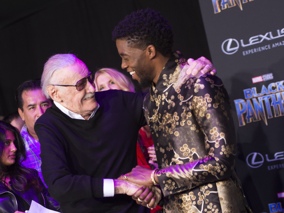 Comic book writer Stan Lee and actor Chadwick Boseman attend the world premiere of Marvel Studios Black Panther. (Valerie Macon/AFP/Getty Images)