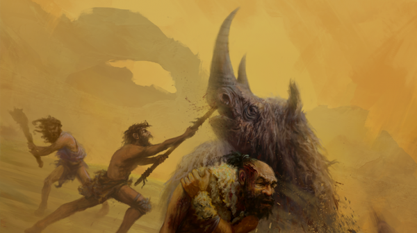 Neanderthals are believed to have relied on dangerous close range hunting techniques, using non-projectile weapons like the thrusting spears depicted in this artist