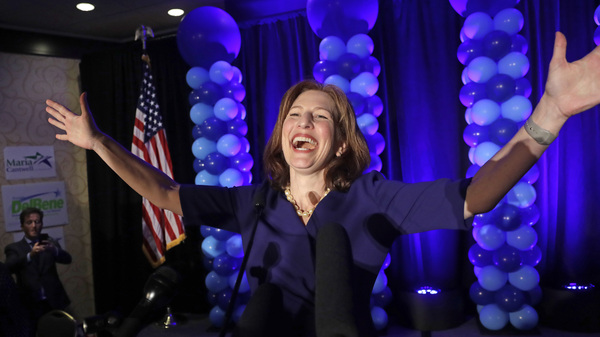 Rep.-elect Kim Schrier addresses the crowd at an election night party for Democrats onvNov. 6, 2018, in Bellevue, Wash.