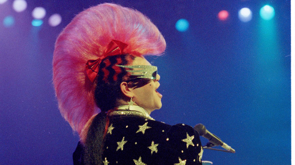 Elton John and his mohawk perform at Universal Amphitheater in Universal City, Calif., in 1986.